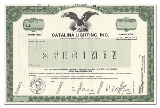 Catalina Lighting, Inc. (Specimen)