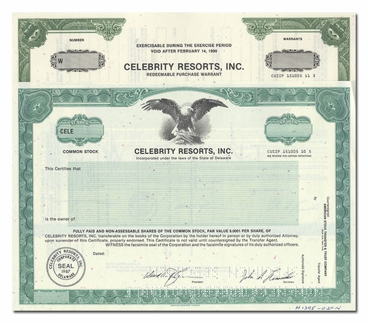 Celebrity Resorts, Inc. (Specimen Set of 2 Pieces)