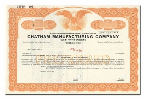 Chatham Manufacturing Company (Specimen)
