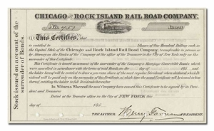 Chicago and Rock Island Rail Road Company, Signed By Henry Farnham