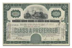 Chicago South Shore and South Bend Railroad, Signed by Samuel Insull, Jr.
