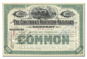 Cincinnati Northern Railroad Company, Signed by Melville Ingalls