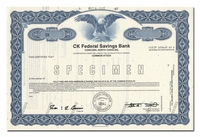 CK Federal Savings Bank (Specimen)