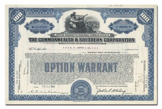 Commonwealth & Southern Corporation, Issued to E. F. Hutton & Company