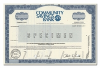 Community Savings Bank (Specimen)