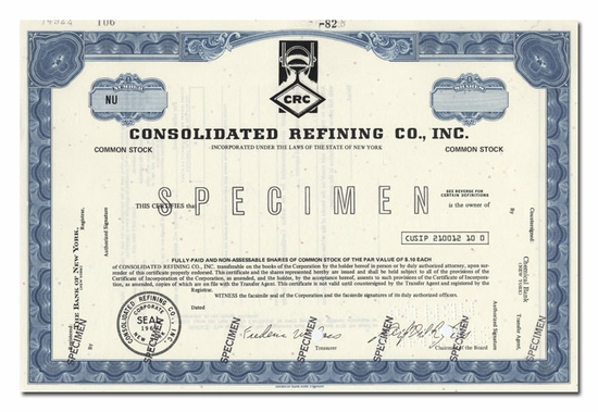Consolidated Refining Co., Inc. (Specimen)