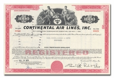 Continental Air Lines, Inc., Issued to Paine, Webber, Jackson & Curtis