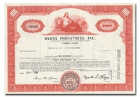 Daryl Industries, Inc., Issued to Bache & Co.