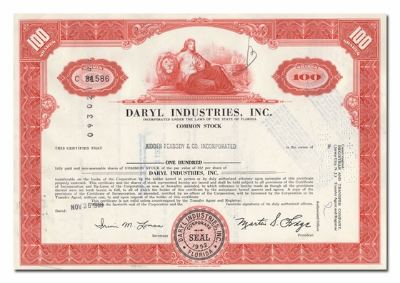 Daryl Industries, Inc., Issued to Kidder Peabody