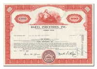 Daryl Industries, Inc., Issued to Merrill Lynch, Pierce, Fenner & Smith