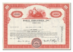 Daryl Industries, Inc., Issued to Paine, Webber, Jackson & Curtis