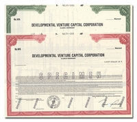 Developmental Venture Capital Corporation (Specimen Set of 2 Pieces)
