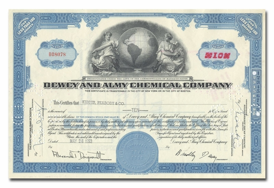 Dewey and Almy Chemical Company, Issued to Kidder Peabody