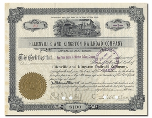 Ellenville and Kingston Railroad Company, Signed by Charles Sanger Mellen