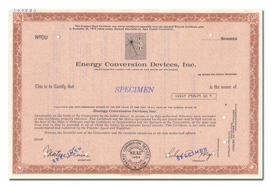 Energy Conversion Devices, Inc. (Specimen)
