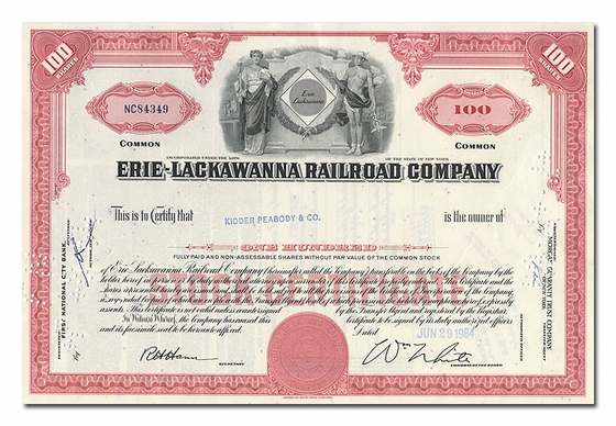 Erie-Lackawanna Railroad Company, Issued to Kidder Peabody