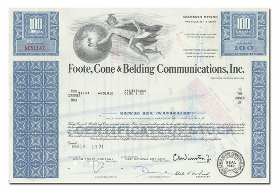 Foote, Cone & Belding Communications, Inc.