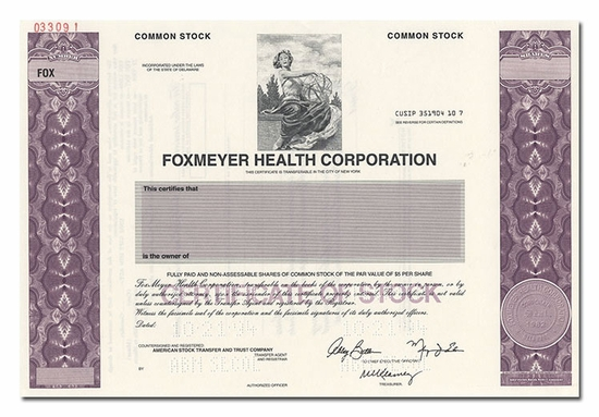 Foxmeyer Health Corporation (Specimen)