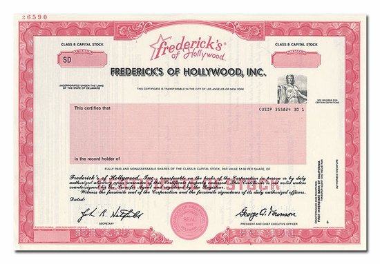 Frederick's of Hollywood, Inc. (Specimen)