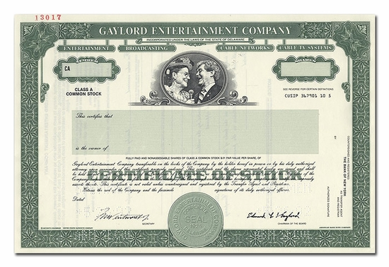 Gaylord Entertainment Company (Specimen)