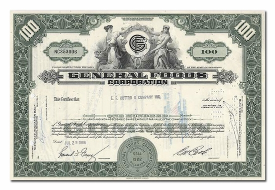 General Foods Corporation, Issued to EF Hutton