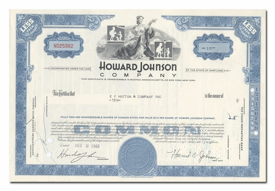 Howard Johnson Company, Issued to EF Hutton