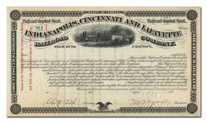 Indianapolis, Cincinnati & Lafayette Railroad Company, Signed by Melville Ingalls