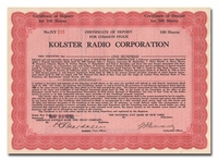 Kolster Radio Corporation (Issued to Rudolph Spreckels)