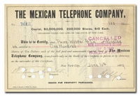 Mexican Telephone Company, Issued to Paine Webber