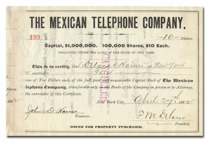 Mexican Telephone Company, Signed by Franklin Delano