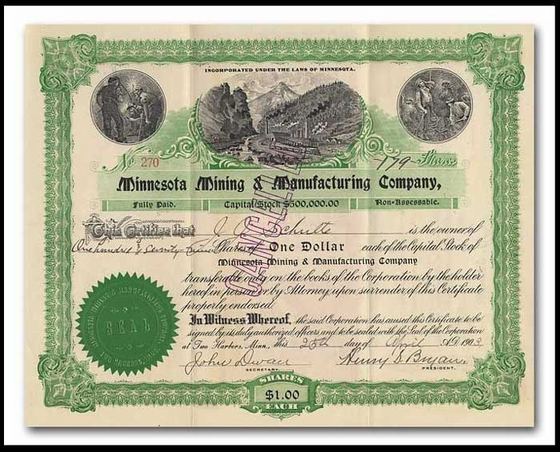 Minnesota, Mining & Manufacturing Company (Signed by 2 of the Company's Founders)