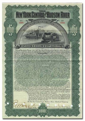New York Central and Hudson River Railroad Company, Signed by Chauncey DePew