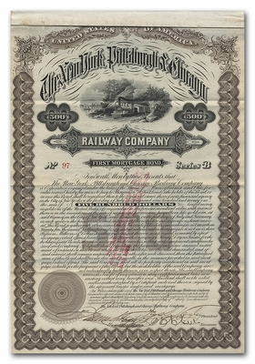 New York, Pittsburgh and Chicago Railway Company, Signed by James Scott Negley