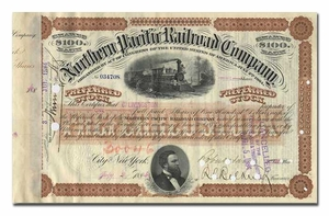Northern Pacific Railroad Company, Issued to and Signed by Crawford Livingston