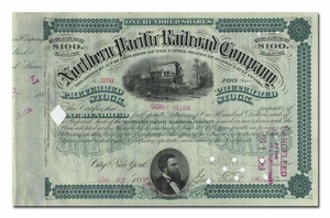 Northern Pacific Railroad Company, Issued to and Signed by Sidney Dillon