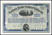 Northern Pacific Railway Company (Issued to and Signed by Jay Cooke and a Second Signature in Charles D. Barney's Hand)