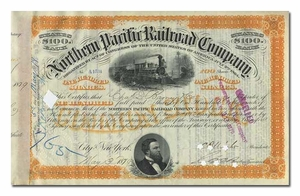 Northern Pacific Railway, Issued to Charles D. Barney & Company and Signed in Barney's Hand