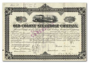 Old Colony Steamboat Company, Signed by Frederick L. Ames