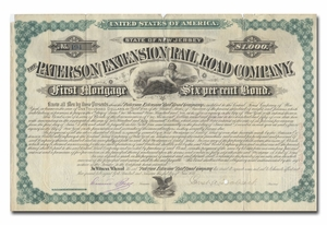 Paterson Extension Rail Road Company, Signed by U. S. Vice President Garret Hobart
