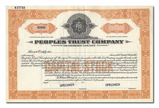 Peoples Trust Company of Bergen County (Specimen)