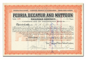 Peoria, Decatur and Mattoon Railroad Company, Signed by Stuyvesant Fish