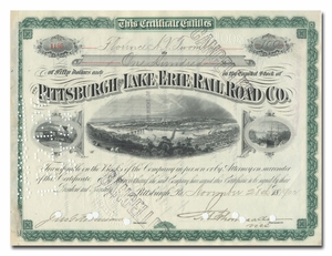 Pittsburgh and Lake Erie Rail Road Company, Issued to and Signed by Florence Vanderbilt Twombley
