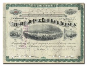 Pittsburgh and Lake Erie Rail Road Company, Issued to and Signed by Hamilton McKown Twombley