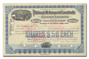 Pittsburgh, McKeesport and Connellsville Railway Company, Signed by William H. Graham
