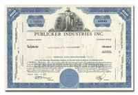 Publicker Industries Inc., Issued to Dean Witter & Company