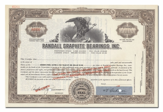 Randall Graphite Bearings, Inc. (Specimen)
