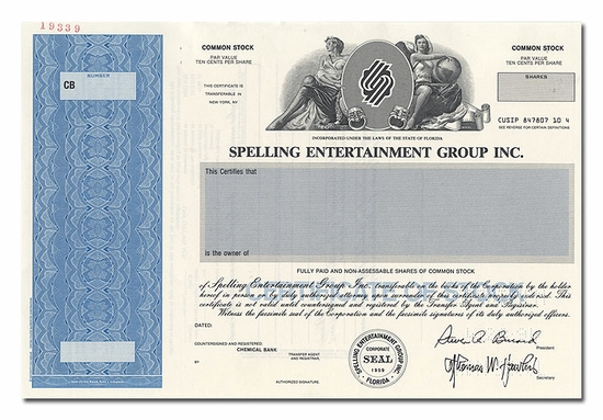 Spelling Entertainment Group Inc. (Specimen)