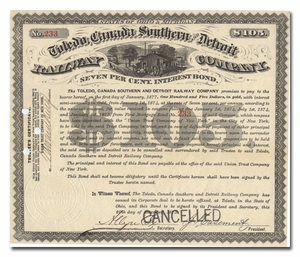 Toledo, Canada, Southern and Detroit Railway Company, Signed by John Stephen Casement