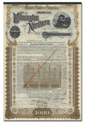 Wilmington and Northern Railroad Company, Signed by Henry A. duPont