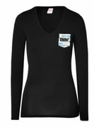 Ladies Black V-Neck Pocket Long Sleeve Shirt